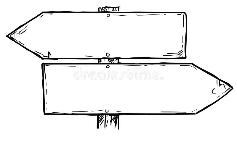 Karikatur-Vektor-leerer Wegweiser mit zwei Entscheidungs-Pfeilen vektor abbildung