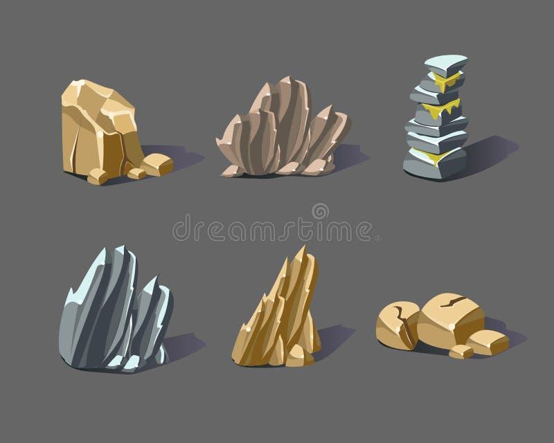 Karikatur-Vektor-Steine und Mineralien vektor abbildung