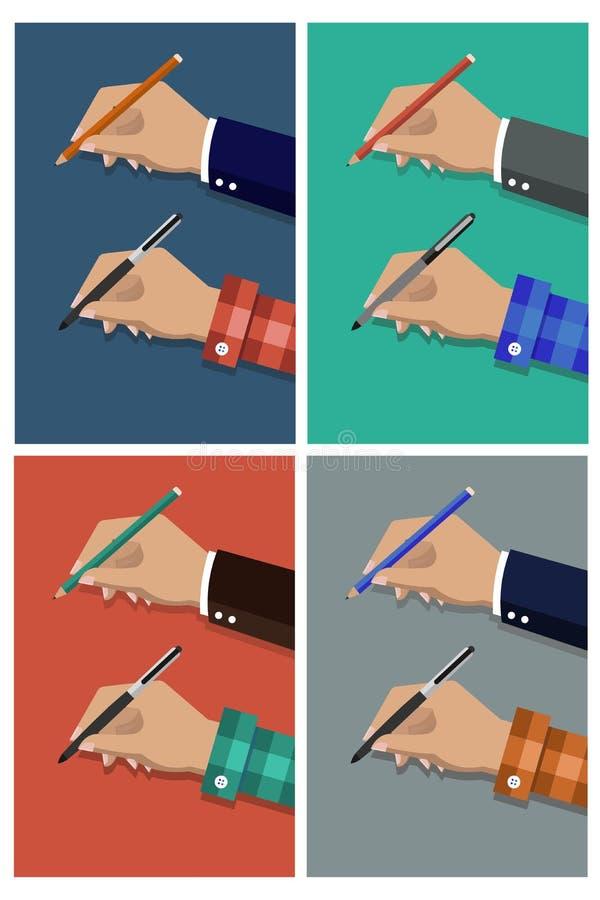 Karikatur-Vektorillustration des Bleistifts in der Hand Übergibt Holdingfeder lizenzfreie abbildung