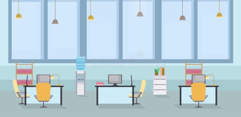 KARIKATUR-Vektorillustration des leeren Büros Innen Coworking-offener Raum, Tabellen mit Stühlen an Arbeitsplatz, Computer lizenzfreie abbildung