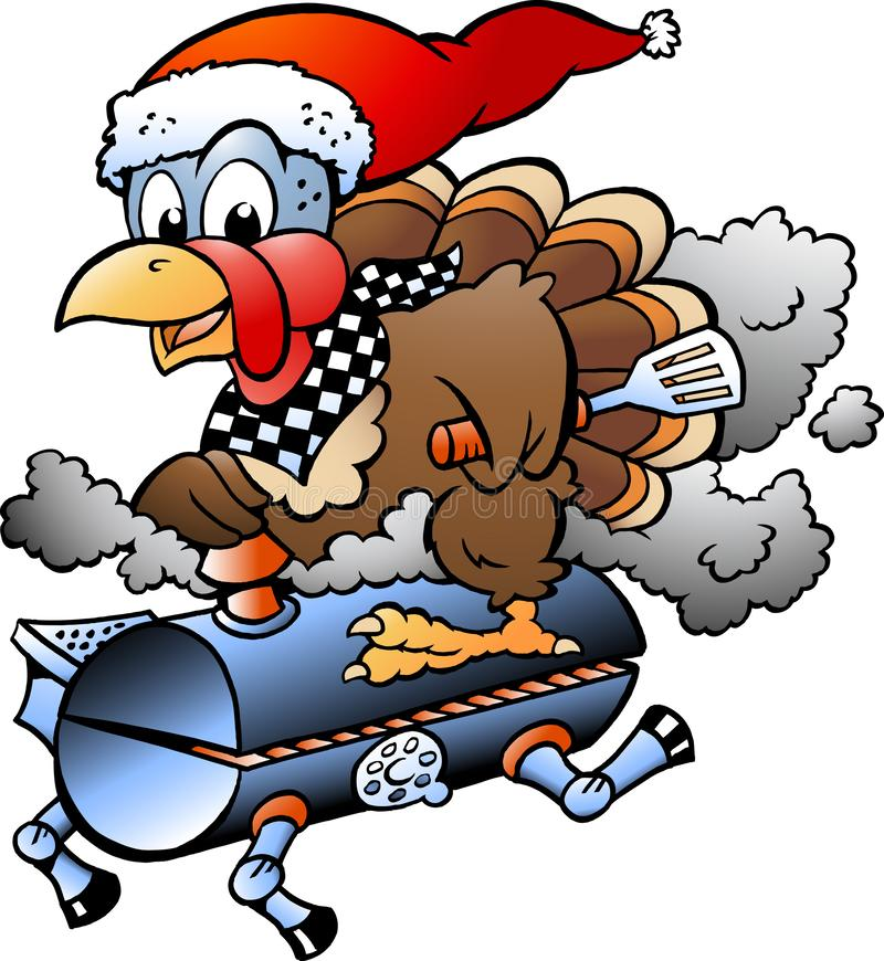 Karikatur-Vektorillustration einer Weihnachtsdanksagung die Türkei, die ein BBQ-Grillfaß reitet lizenzfreie abbildung