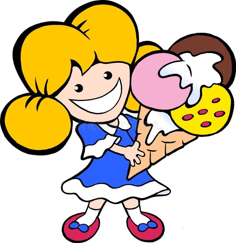 Karikatur-Vektorillustration eines glücklichen lächelnden jungen Eiscreme-Mädchens lizenzfreie abbildung
