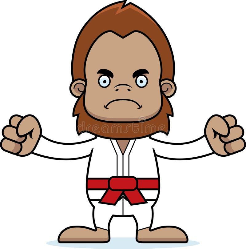 Karikatur-verärgertes Karate Sasquatch vektor abbildung