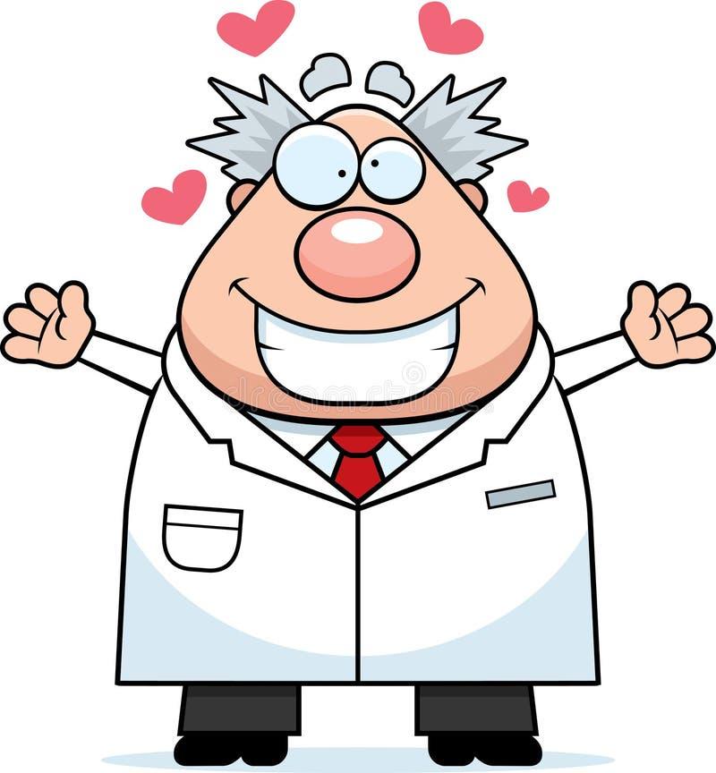 Karikatur-verrückter Wissenschaftler Hug stock abbildung