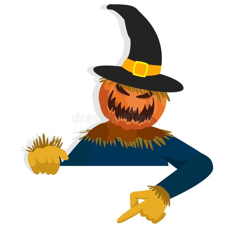Karikatur-Vogelscheuchen-Charakter für Halloween-Anlagegut zeigend unten hinter Papier vektor abbildung