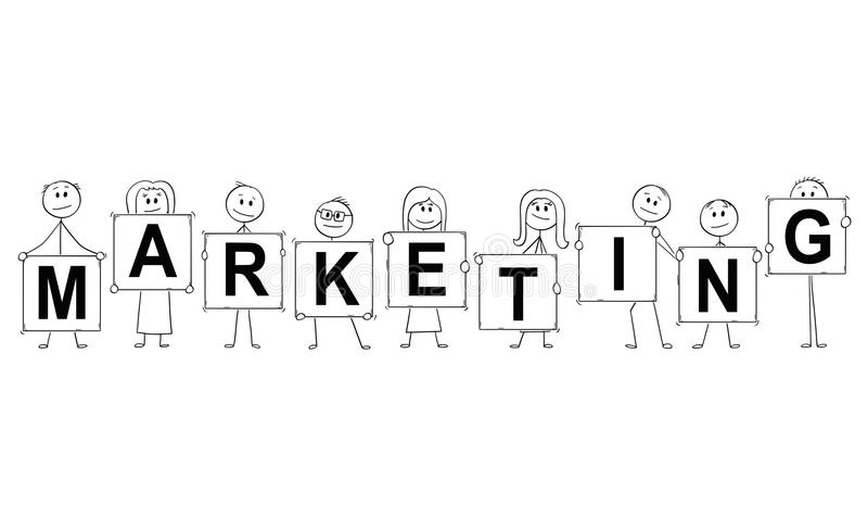 Karikatur von den Geschäftsmännern und von Geschäftsfrauen, die Zeichen mit Marketing-Text halten stock abbildung