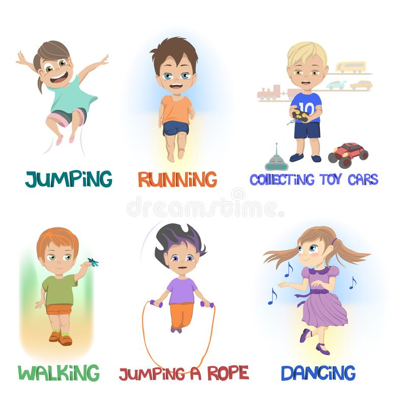 Karikatur von den Kindern, die verschiedene Spaßtätigkeiten tun vektor abbildung