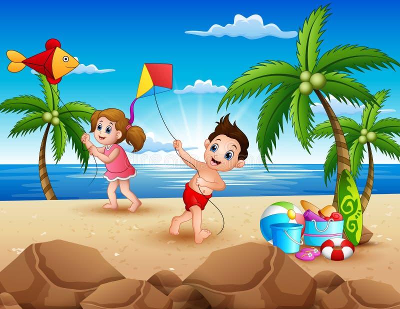 Karikatur von den kleinen Kindern, die mit Drachen auf dem Strand spielen stock abbildung