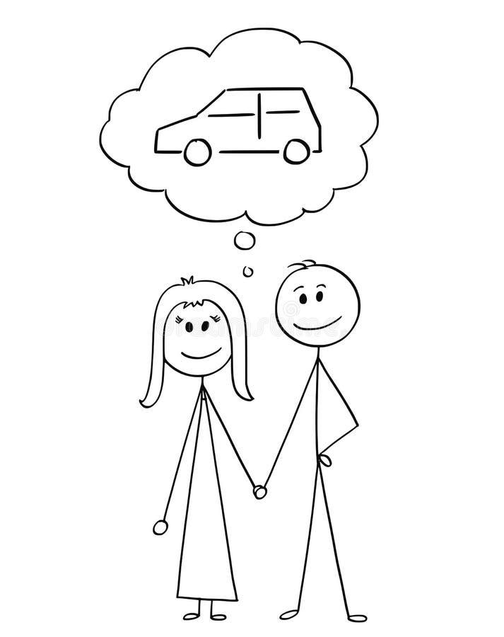 Karikatur von heterosexuellen Paaren des Mannes und der Frau, die an kaufendes Auto denken stock abbildung