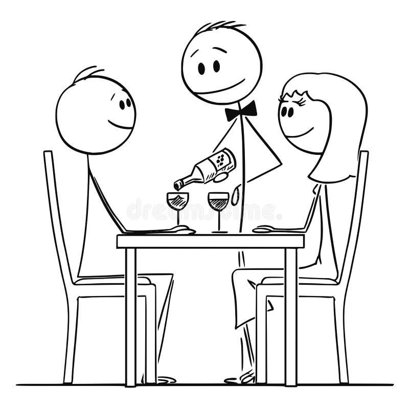 Karikatur von liebenden Paaren des Mannes und der Frau, die hinter Tabelle im Restaurant sitzen, während Kellner Wein gießt lizenzfreie abbildung