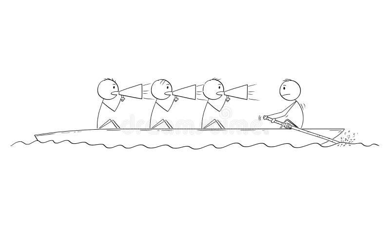 Karikatur von vier Männern oder von Geschäftsmännern auf Boot, ein Mann ist Ruderer und drei Männer sind Steuermänner lizenzfreie abbildung