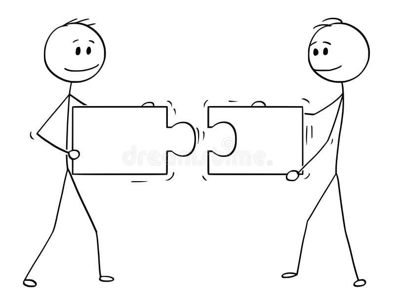 Karikatur von zwei Geschäftsmännern, die zusammenpassende Stücke des Puzzlen halten und anschließen vektor abbildung
