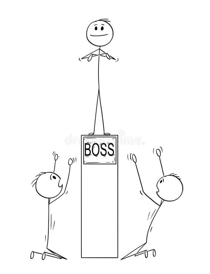 Karikatur von zwei Männern oder von Geschäftsmännern, die Chef auf Sockel anbeten vektor abbildung