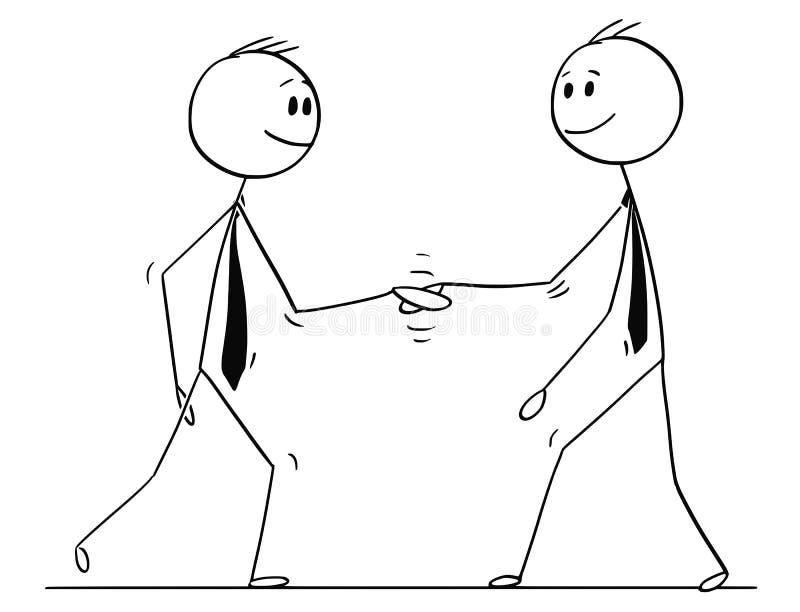 Karikatur von zwei Männern oder von Geschäftsmännern, die Hände rütteln lizenzfreie abbildung