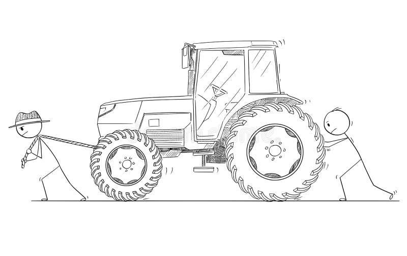 Karikatur von zwei Männern oder von Landwirten, die einen Traktor drücken und ziehen lizenzfreie abbildung