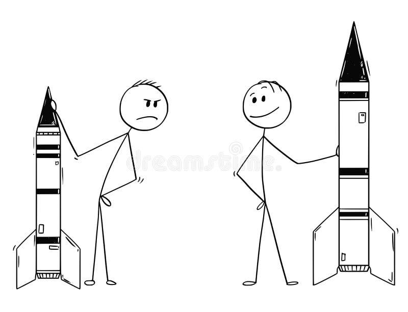 Karikatur von zwei Politikern oder von Geschäftsmännern, die Raketen oder Militär-Rockets demonstrieren lizenzfreie abbildung