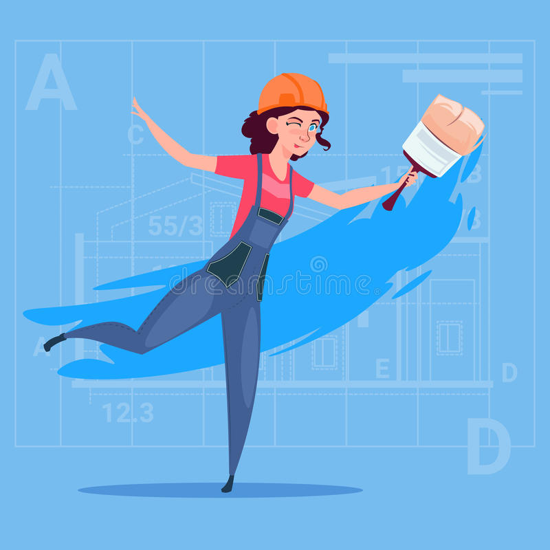Karikatur-weiblicher Maler-Hold Paint Brush-Dekorateur-Erbauer-Wearing Uniform And-Sturzhelm stock abbildung