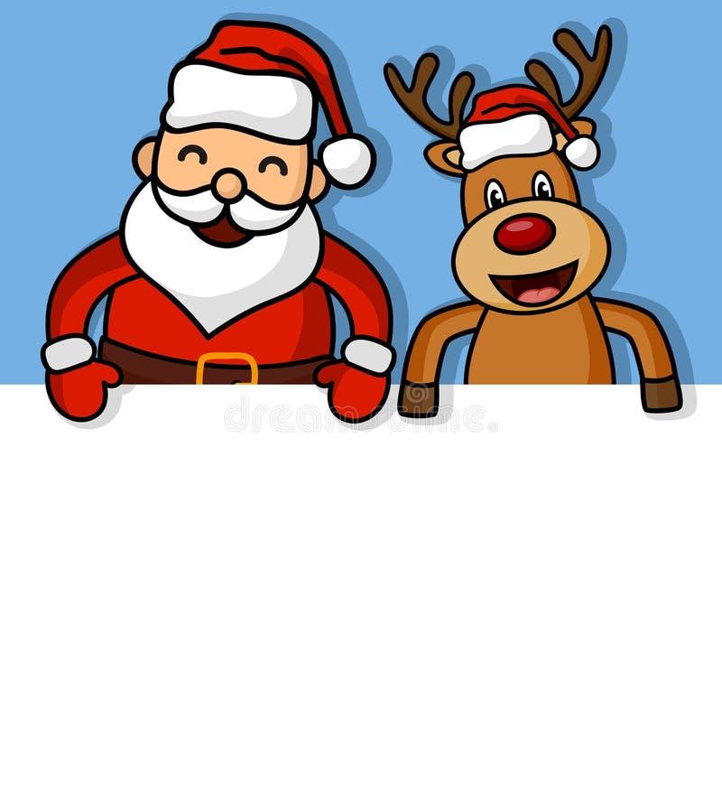 Karikatur Weihnachtsmann und Rotwild mit leerem Zeichen lizenzfreie abbildung