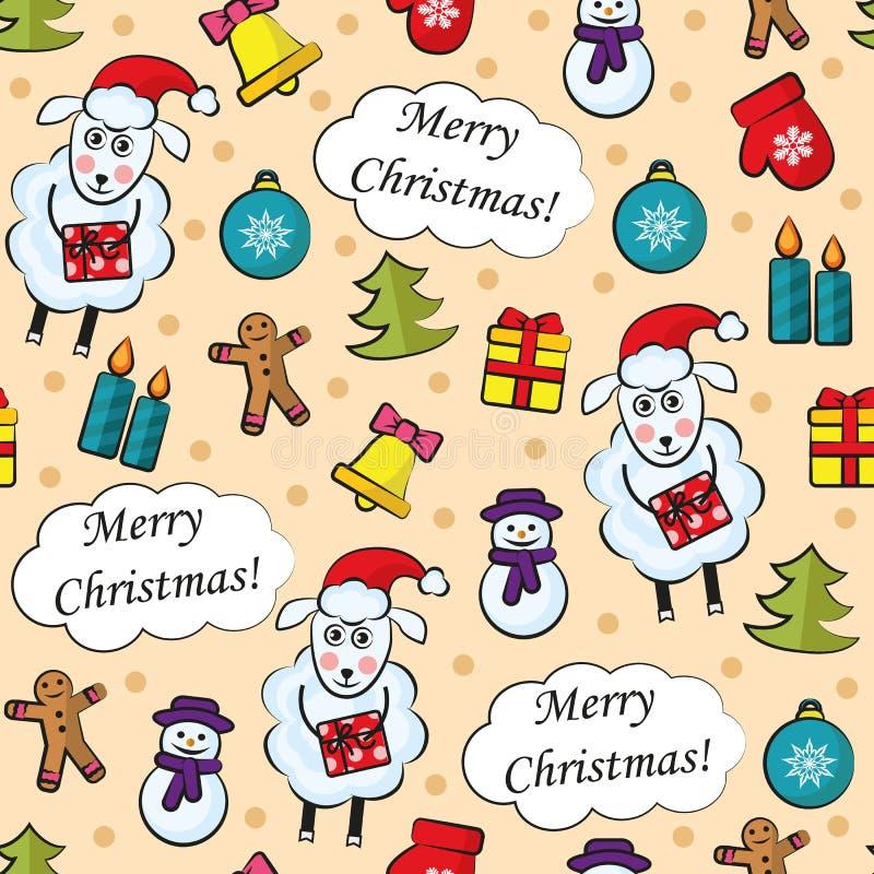 Karikatur-Weihnachtsnahtloses Muster stock abbildung