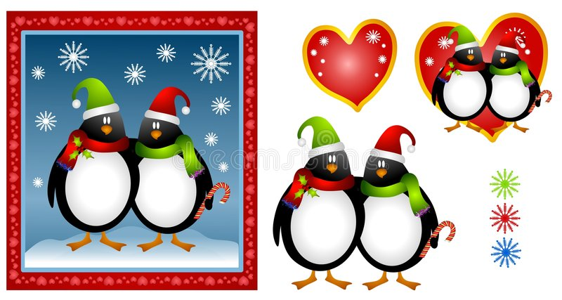 Karikatur-WeihnachtsPinguin-Paare vektor abbildung