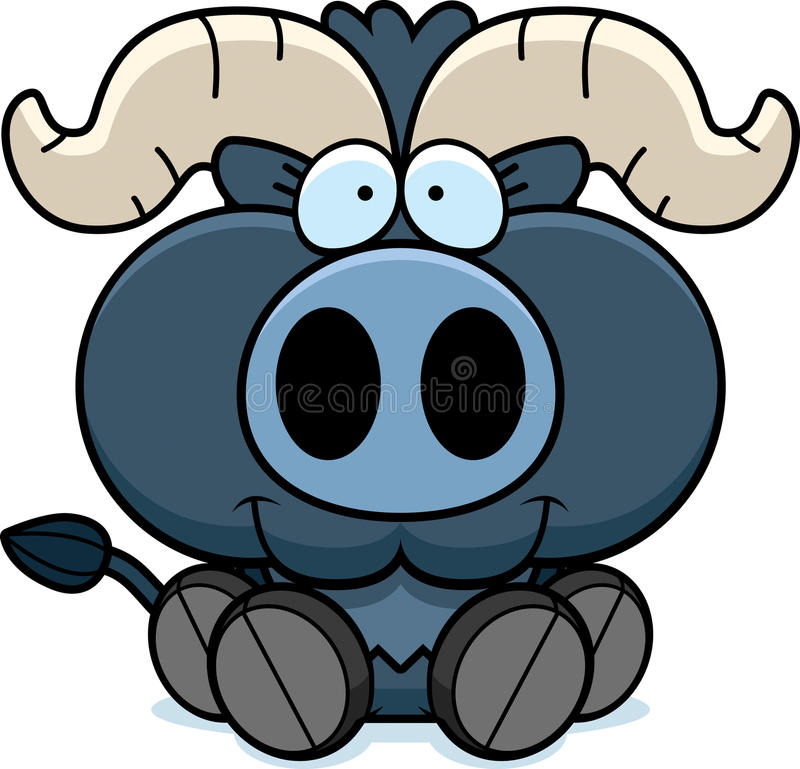 Karikatur-wenig blaues Ochsen-Sitzen vektor abbildung