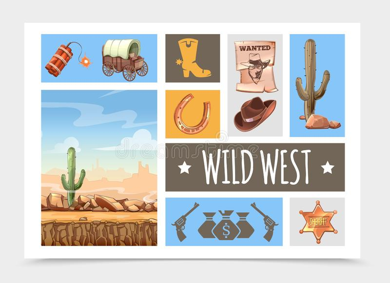 Karikatur-wilder Westelement-Satz lizenzfreie abbildung