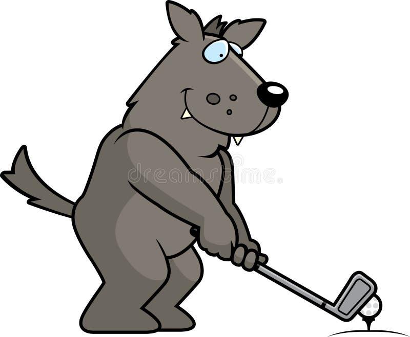 Karikatur Wolf Golfing stock abbildung