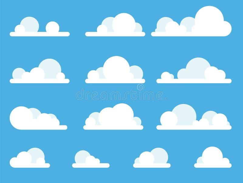 Karikatur-Wolken eingestellt auf blauer Himmel-Hintergrund lizenzfreies stockbild