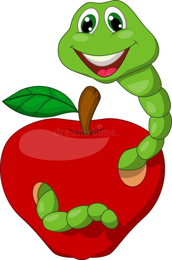 Karikatur-Wurm mit rotem Apfel stock abbildung