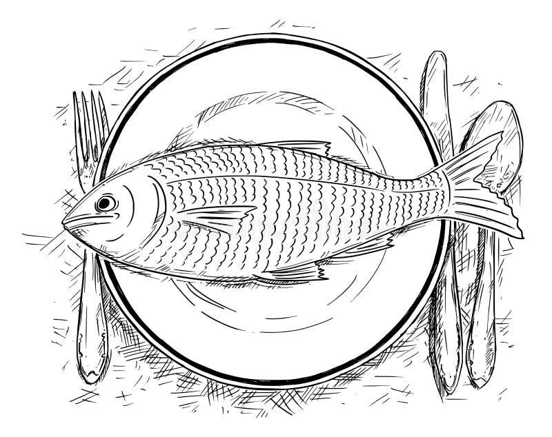 Karikatur-Zeichnung der Draufsicht des Fischfutters auf großem Teller stock abbildung