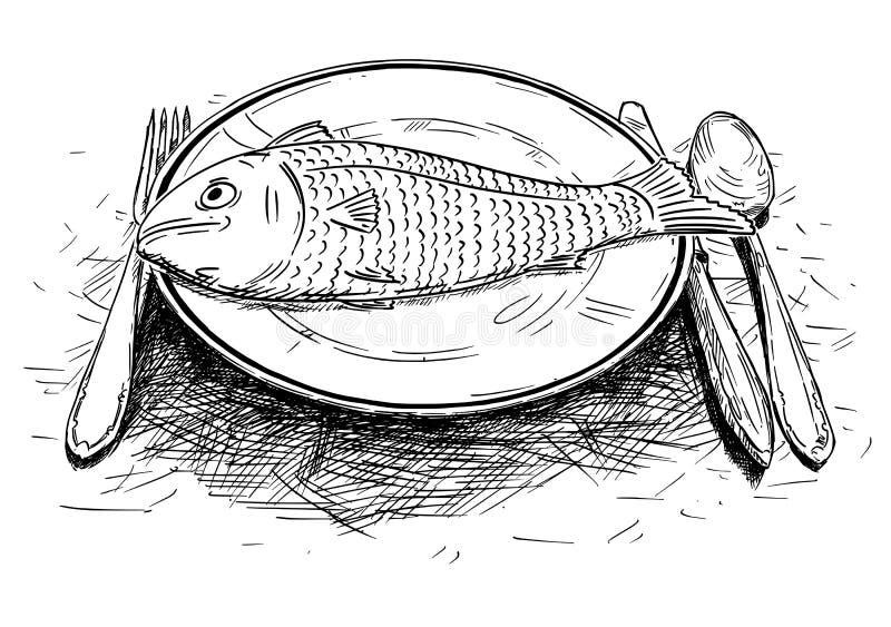 Karikatur-Zeichnung des Fischfutters auf großem Teller stock abbildung