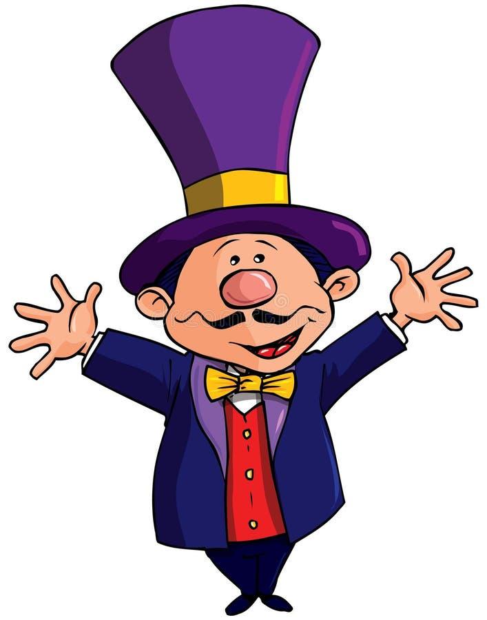 Karikatur-Zirkus Ringmasterwith ein Spitzenhut stock abbildung