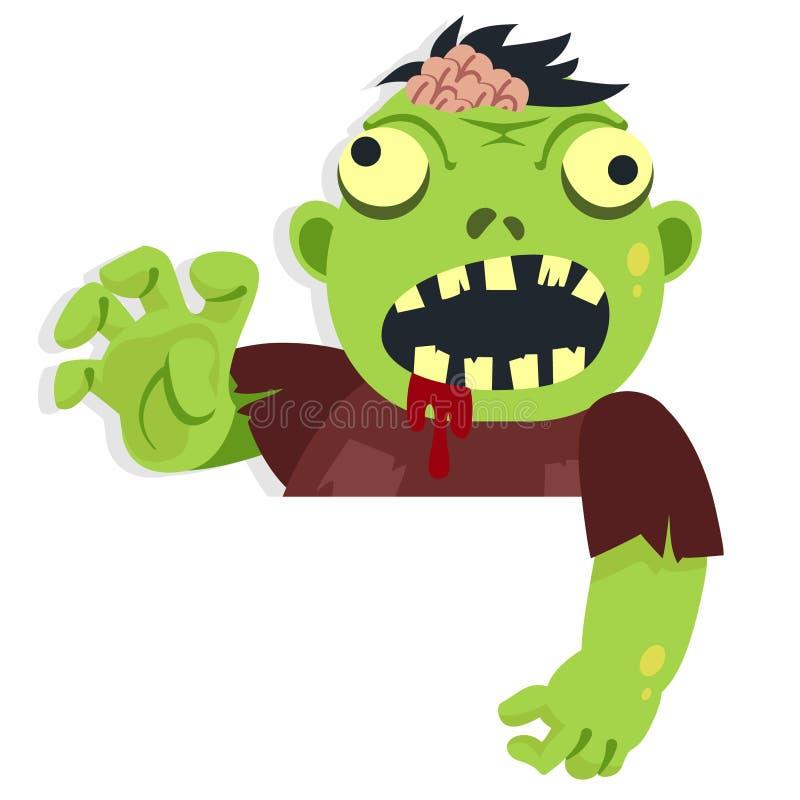 Karikatur-Zombie-Charakter für Halloween-Anlagegut zeigend unten hinter Papier stock abbildung
