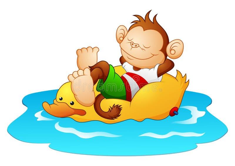 Karikaturaffe, der auf Entenrettungsring im Wasser sich entspannt vektor abbildung