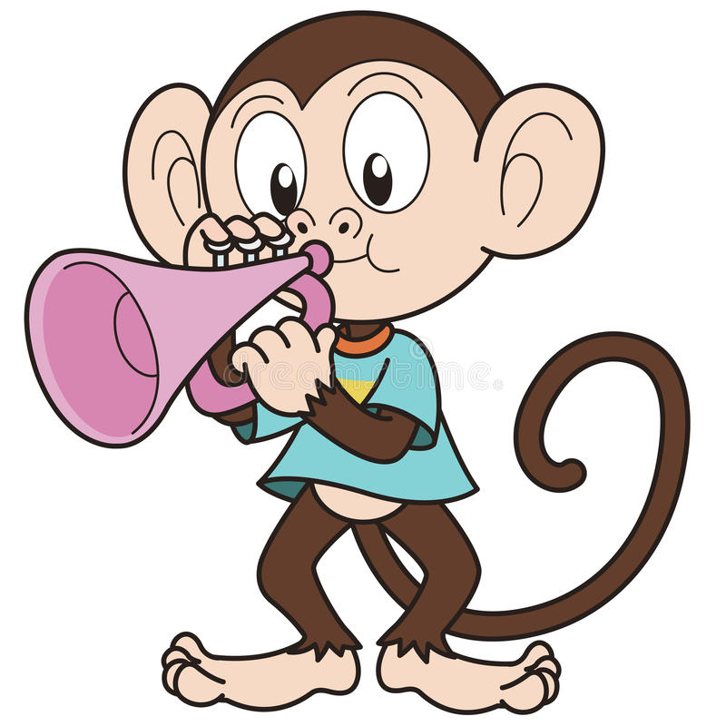 Karikatur-Affe, der eine Trompete spielt stock abbildung