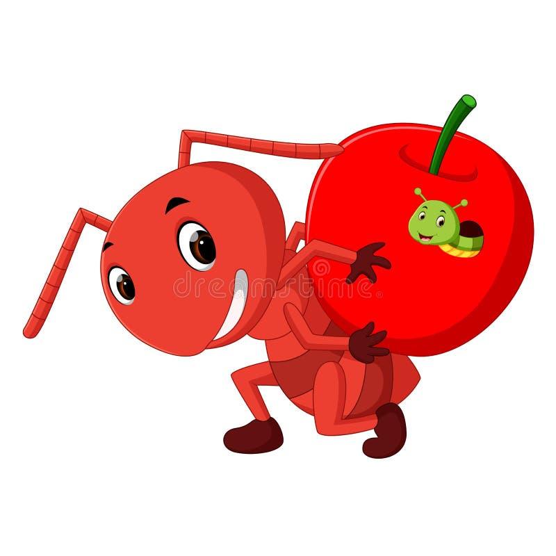 Karikaturameisen, die nach innen Apfel halten und Gleiskettenfahrzeug lizenzfreie abbildung