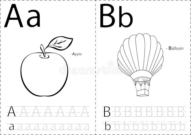 Karikaturapfel und -ballon Spurarbeitsblatt des Alphabetes: Schreiben von A lizenzfreie abbildung