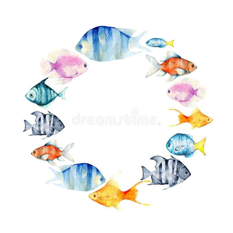 Karikaturaquarell kritzelt Unterwasserweltillustration vektor abbildung