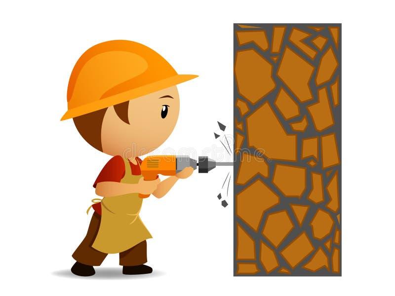 Karikaturarbeiter mit Bohrgerät bilden Löcher in der Wand lizenzfreie abbildung