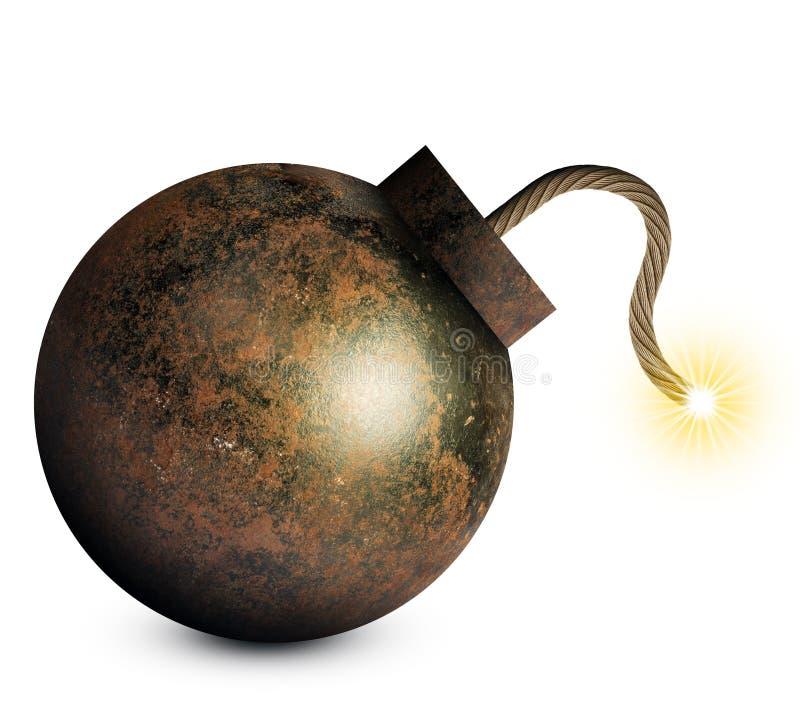 Karikaturartbombe mit angezündeter Sicherung stockbild