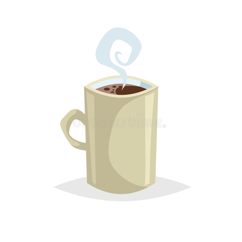 Karikaturartschale mit heißem Getränk Kaffee oder Tee Modisches dekoratives Design Groß für Cafémenü Beige Becher mit Dampf lizenzfreie abbildung