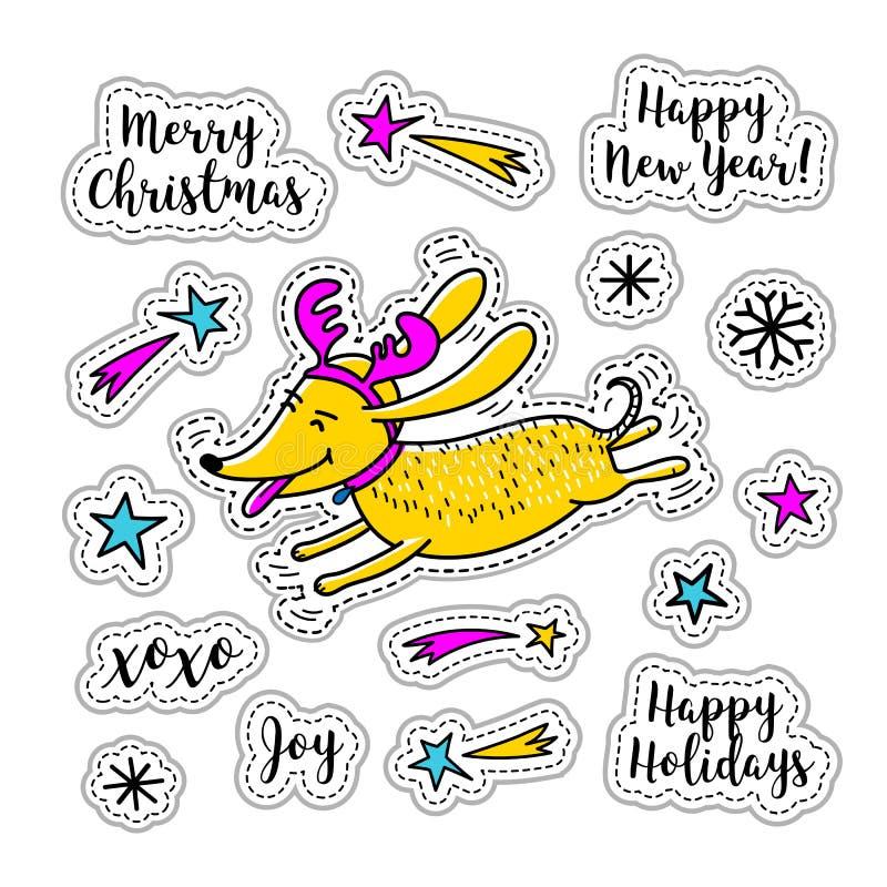 Karikaturaufkleber Weihnachtsaufkleber, Gekritzelikonen Zeichentrickfilm-Figur-Hundesymbole neues Jahr-Weihnachten Vektorausweise stock abbildung