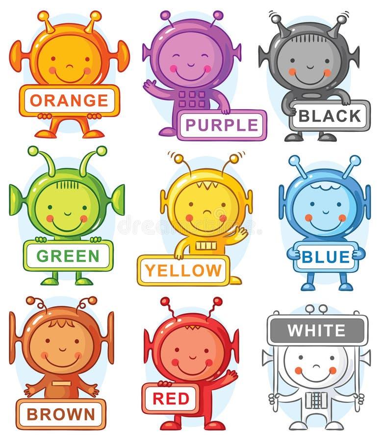 Karikaturausländer, die Farben darstellen vektor abbildung