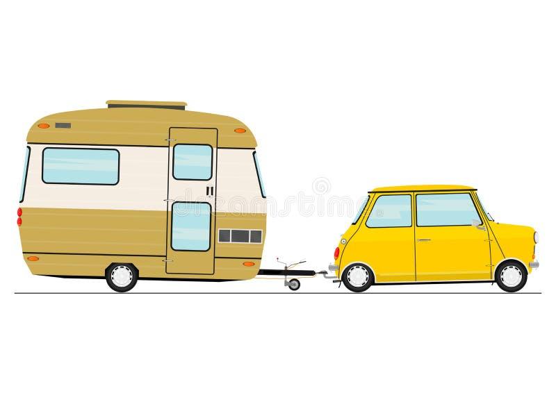 Karikaturauto mit einem Wohnwagen lizenzfreie abbildung