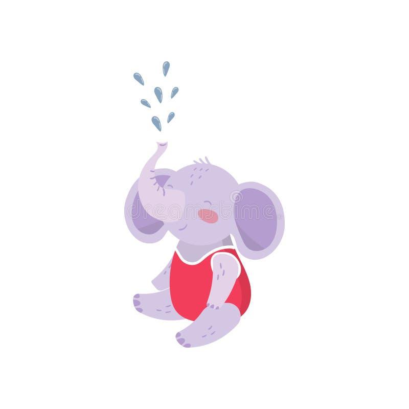 Karikaturbaby-Elefantsitzendes und Sprühwasser mit seinem Stamm Nettes humanisiertes Tier mit den großen Ohren kleidete im Rot an vektor abbildung