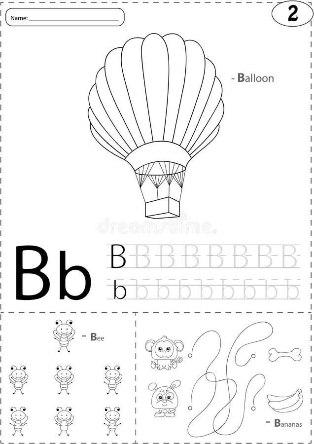 Karikaturballon, -biene und -bananen Spurarbeitsblatt des Alphabetes: wr vektor abbildung