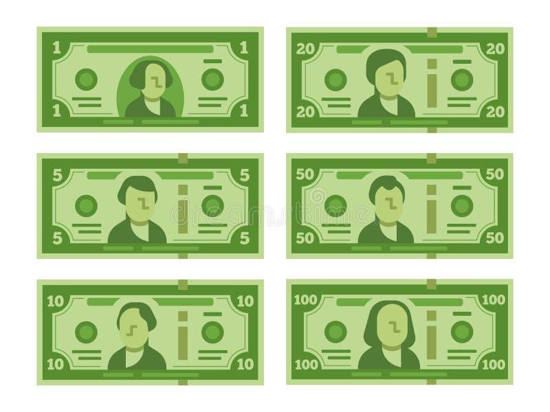 Karikaturbanknote Dollarbargeld, Geldbanknoten und hundert Dollarscheine stilisierten flache Illustration des Vektors lizenzfreie abbildung