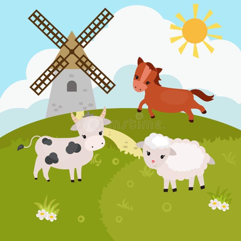 Download Karikaturbauernhoflandschaft Vektor Abbildung - Illustration von nave, pferd: 96926375
