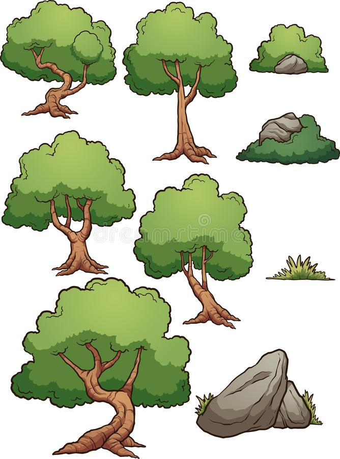 KarikaturBaum- des Waldes und Felsenelemente lizenzfreie abbildung