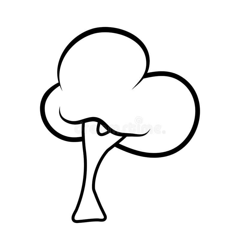 Karikaturbaum outlinevector Symbol-Ikonendesign Schönes illust vektor abbildung